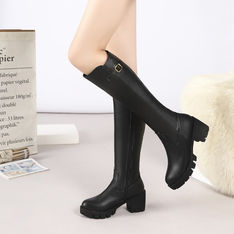 Big Size 11 12 13 14 15 Simple side zipper rider boot with middle heel Ladys high boots with thick square heelsBig Size 11 12 13 14 15 Simple side zipper rider boot with middle heel Ladys high boots with thick square heels