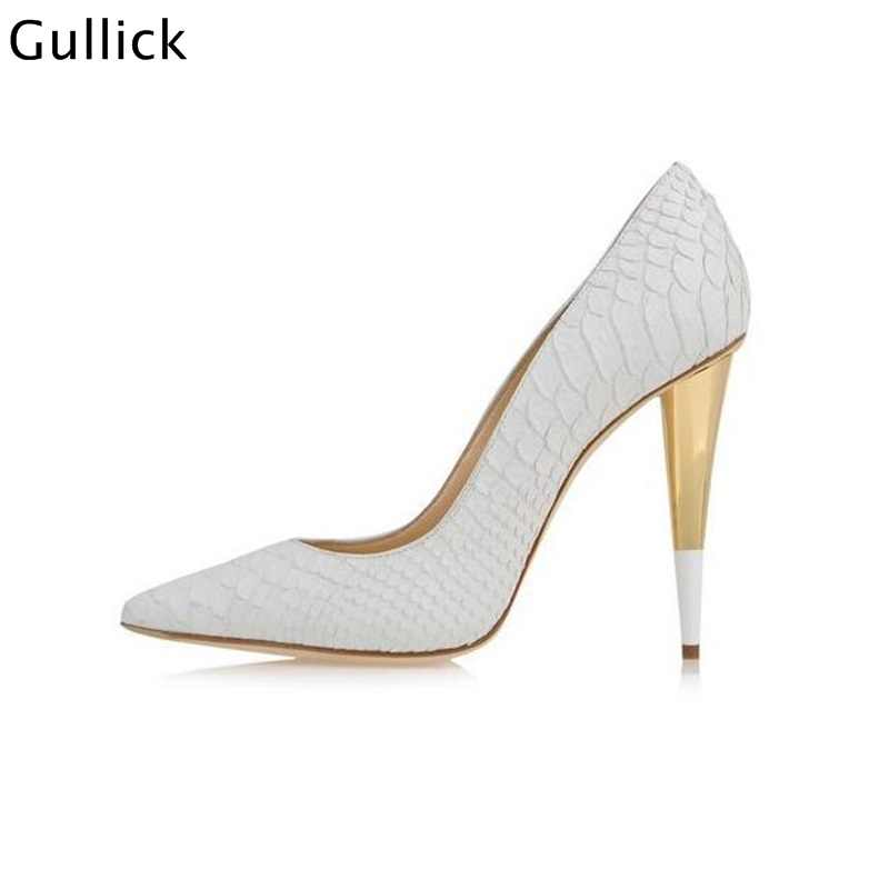 24ec32348f626 ... High Quality Sexy Pointed Toe White Women Pumps Gold Metal Heel Formal  Dress Shoe Back Zip ...