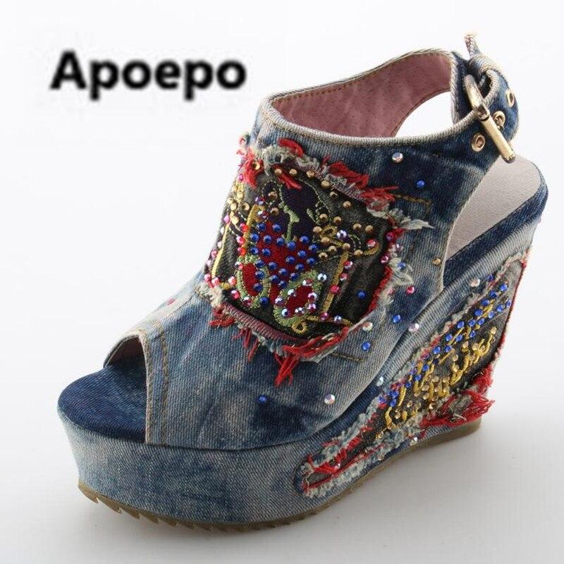 Apoepo Brand Woman Wedges Peep Toe Cowboy Ankle Boots Desinger Shoes Summer High Heels mules Open Toe Denim Blue jeans Sandals blue jeans bota feminina 2017 summer shoes ankle boots for women cowboy denim high heels sexy peep toe tear hollow out sandals
