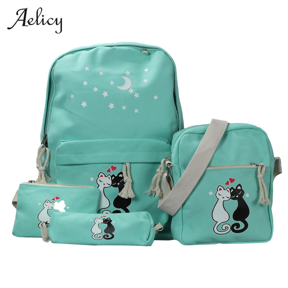 4 Pcs/Set Backpacks Cute Cat School Bags For Teenage Girls Printing Canvas Backpacks Preppy Style Backpacks