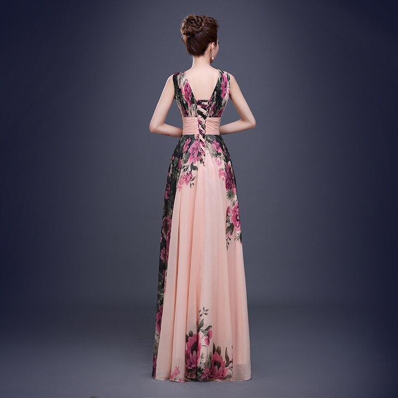Fleur motif Floral imprimé en mousseline de soie robe de bal robe de soirée longue robes de soirée 2019 - 4