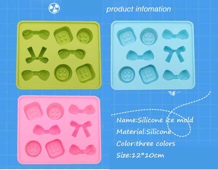 BF050 Candy color food-grade silicone ice mold molded case DIY Ice maker bowknot design 12*10cm  Free shipping