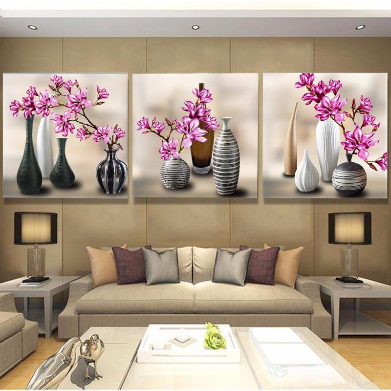 OLY 3D Diamond Painting Cross Stitch Triptych Paintings Red Floral - Seni, kraf dan jahitan