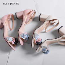 Ankle Strap Women Flowers Sandals 2019 Summer Gladiator Genuine Leather Shoes Woman Ankle Strap High Heels Party Wedding Shoes недорого
