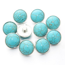 10pcs/Lot Green natural stone 18mm Snap Button Charm Ginger Button For Snap Fit DIY Snap Bracelets&Bangles Accessory 050403