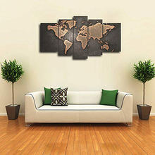 HD Print Art On Canvas Group Piantings Global Map Landscape Painting Wall Pop Artwork Home Decoration 5Panels