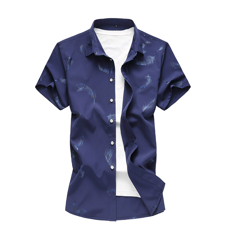 Summer Shirt Men 2019 New Fashion Chemise Homme Mens Feather Printed Shirts Short Sleeve Shirt Men Blouse 5XL 6XL 7XL