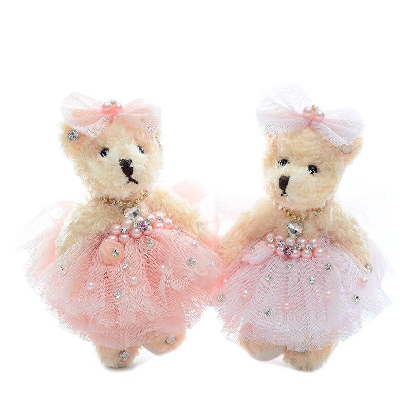 Wedding Teddy Bear Plush Dolls Stuffed Animal Toys Baby Developmental Dolls Home Car Decor Oranments Lover Gift 6''New 1pair couple bear wedding teddy bears plush toys cartoon bouquets of toys wedding bear