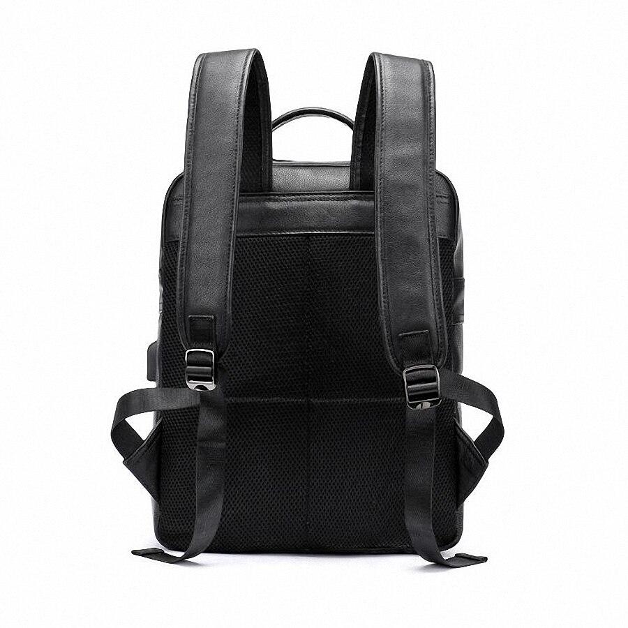 Sac à dos en cuir véritable pour hommes sac à dos pour ordinateur portable de haute qualité USB charge hommes sacs à dos pour hommes corée sac de voyage décontracté LI-2361 - 2