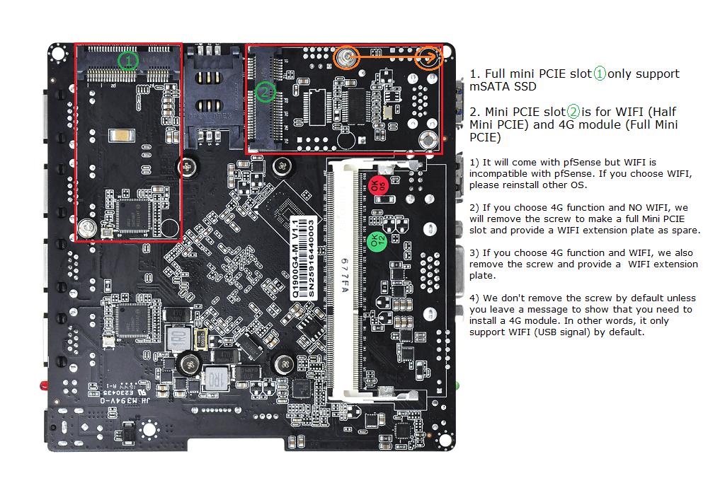 QOTOM Mini PC Q190G4 With 4 LAN Port Pfsense as Router Firewall Quad Core 2  GHz 4G RAM 32G SSD
