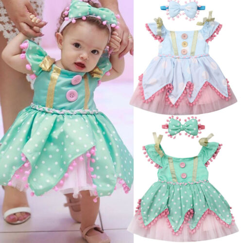 2019   Flower     Girl     Dress   Lace Polka Dot Baby Princess Pageant Party Bridesmaid   Dresses