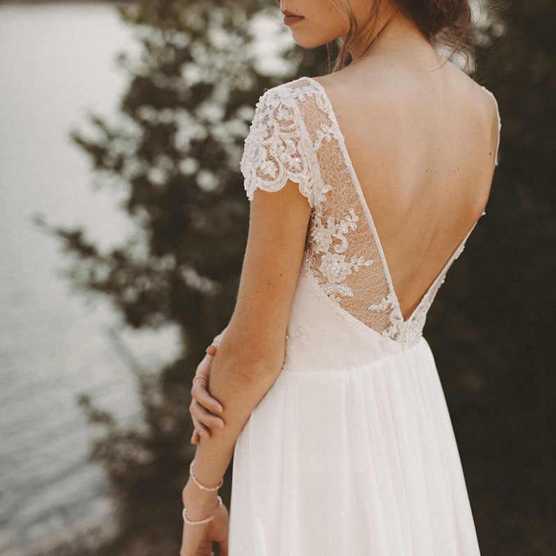 LORIE, Пляжное свадебное платье, v-образный вырез, короткий рукав, а-силуэт, шифоновая юбка, кружевной верх, открытая спина, бохо, платье невесты, свадебное платье, бесплатная доставка