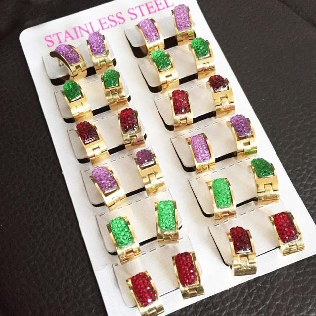 Color mezclado de alta calidad plateó los pendientes del aro para las mujeres de moda de acero inoxidable ear cuff brincos joyería Al Por Mayor de la venta Caliente