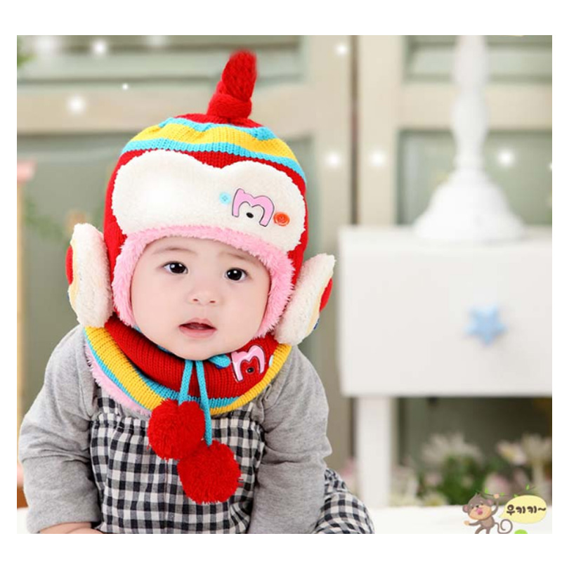 Children winter costume hat ear muff crochet baby hat scarf set toddler headband warm Knit baby caps All For Children's Clothing