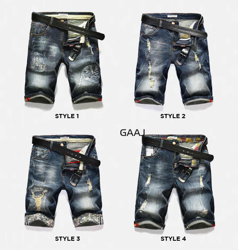 GAAJ узкие джинсы Брендовые мужские шорты рваные летние капри мужские модные байкерские повседневные эластичные рваные синие джинсовые шорты