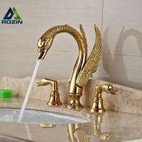 Soild Медь золото Ванная комната кран роскошные золотой Лебедь Форма бассейна нажмите двойной ручкой Палуба Гора