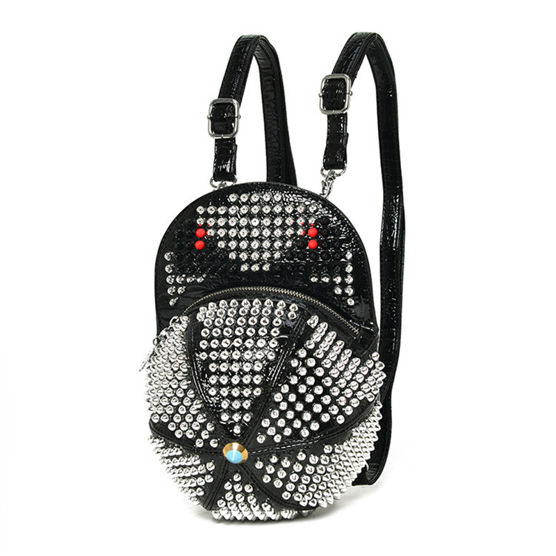 Cap Fashion Womens Backpack Punk Rock Shiny Rivet Bag Little Monsters Ladies Cool Shoulder Bags