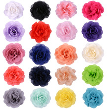 Yundfly 3.2 5pcs Chic Chiffon Rose Flowers Flat Back Used for Kids Adult Headband Hair Clips Diy Headwear Accessories