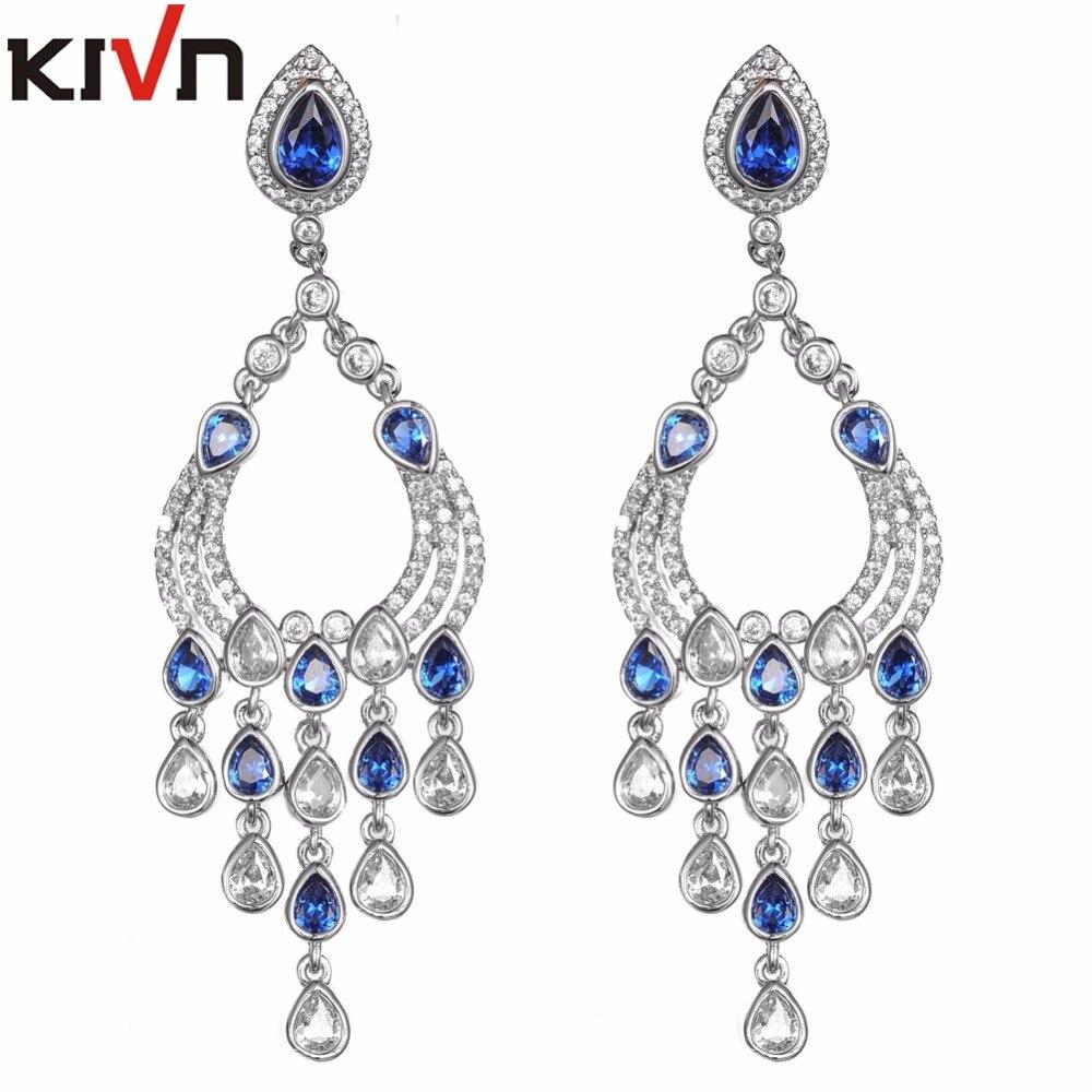 KIVN Womens Fashion Jewelry Long Dangle CZ Cubic Zirconia Chandelier Bridal Wedding Earrings Mothers Birthday font