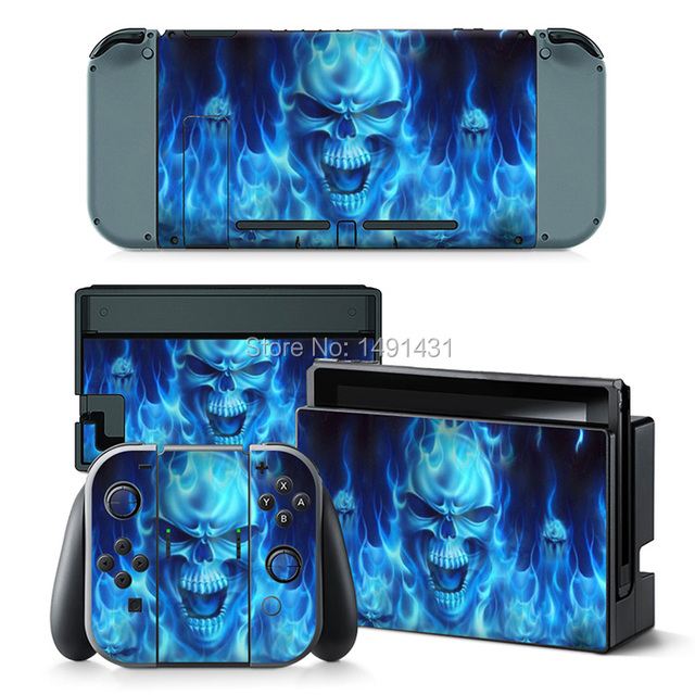 Oststicker fire skull decal for nintendo switch sticker console vinyl sticker