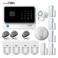 Smartyiba GSM/WI FI/GPRS охранной сигнализации Наборы WI FI охранной alarmes + детектор дыма пожарной сигнализации + инфракрасный IP движения сигнализации