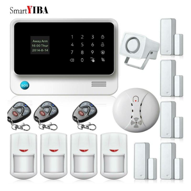 Smartyiba GSM/WI-FI/GPRS охранной сигнализации Наборы WI-FI охранной alarmes + детектор дыма пожарной сигнализации + инфракрасный IP движения сигнализации ...