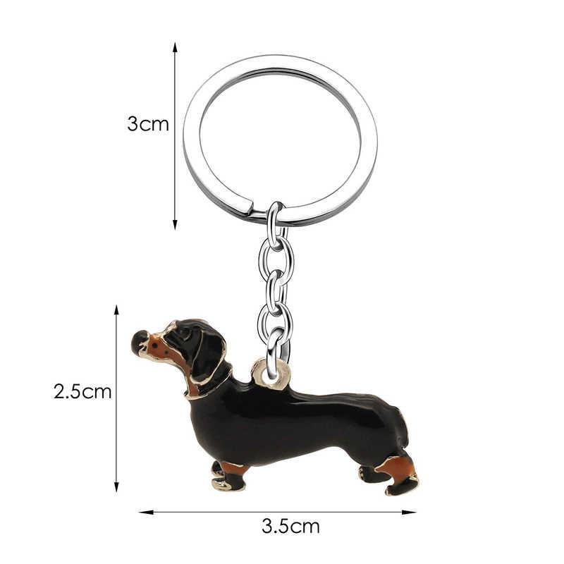 ... XIAOJINGLING Top Quality 3D Dog Keychain Car Key Chain Ring Black  Enamel Alloy Animal Dachshund Pet ... 1fe26e4c4a
