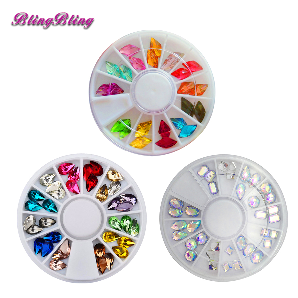 3Boxes 3D Rhinestones For Nail Art Decoration Stones Jewelry Glass Glitter Charm Nail Design Gem Stones Wheel Nail Accessories 10pcs glitter crystal nail gem rhinestones alloy 3d nail art jewelry diy phone case decoration mns784