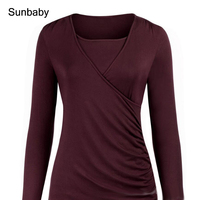 SUNbaby ropa embarazada Long sleeved fit pregnant women breastfeeding tops pregnant clothes T0509