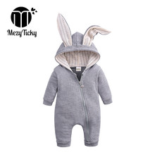 Spring Autum Baby Hooded Rabbit Ear Rompers Newborn Boy Girl Cartoon Clothes Infant Cotton Jumpsuit Children Long Sleeve Outfits autumn cotton rabbit ear knitted rompers infant girls boys cute animal playsuits dot printed hooded outfits baby clothes