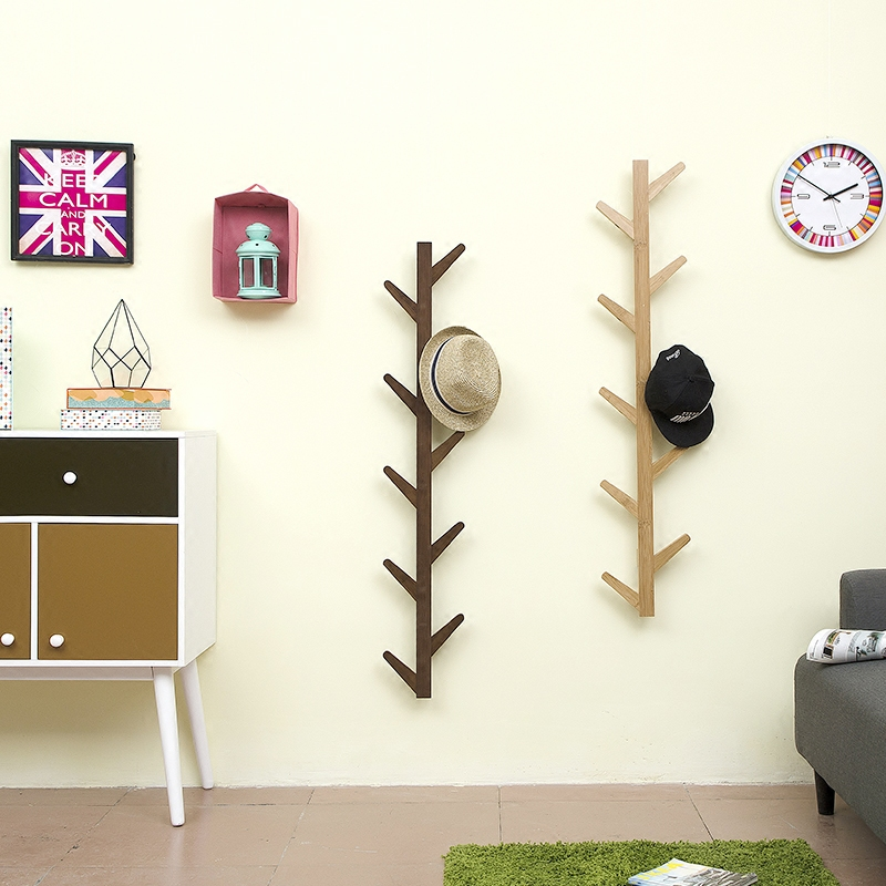 Image 3 - Living room  bedroom decoration hanger coat rack wall clothes hanger natural bamboo tree branch wall storage shelf 6 hooks-in Coat Racks from Furniture