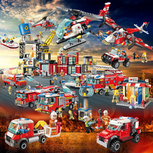 NEW City Police Fire Station Truck Spray Water Gun Firemen Car Building Blocks Sets Bricks Model Kids Toys Compatible Legoes недорого