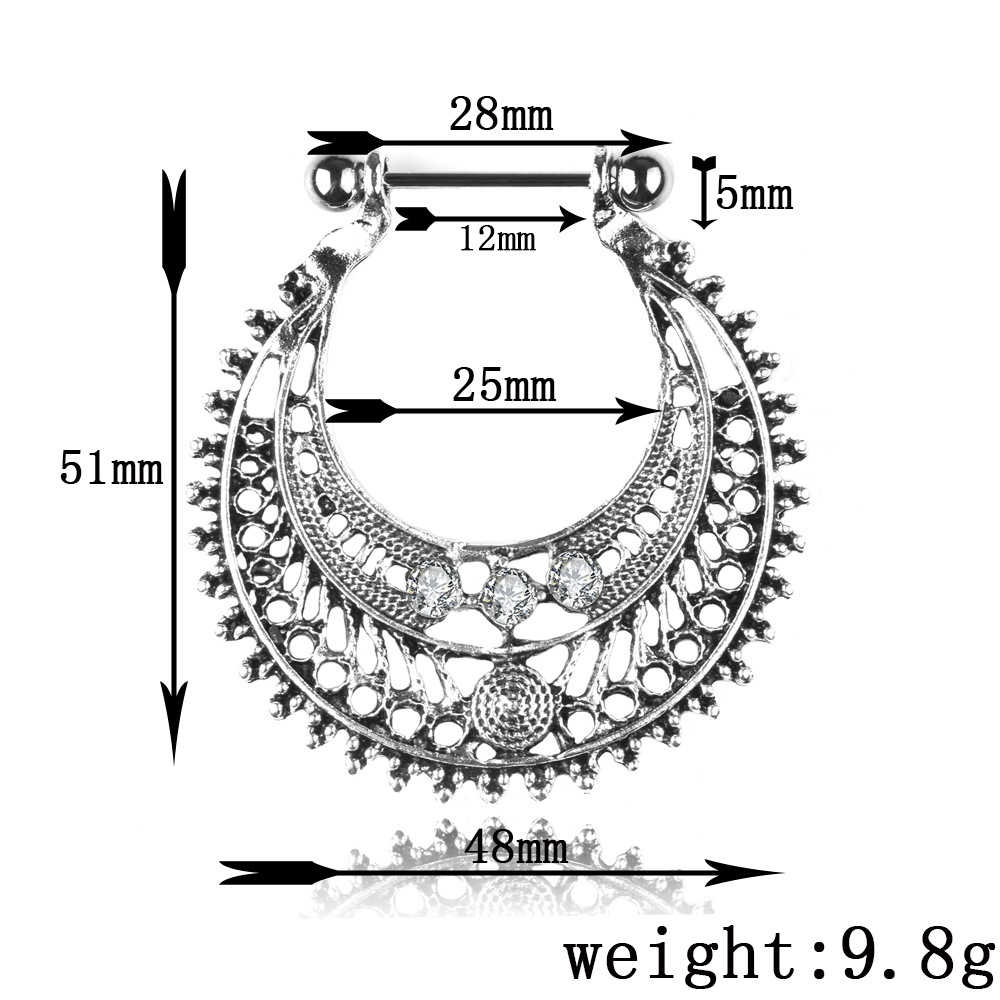 Bohe בציר משובץ U בצורת הולו טבעות נירוסטה פטמות טבעות לשון טבעת פירסינג גוף תכשיטי נשים גברים סיטונאי