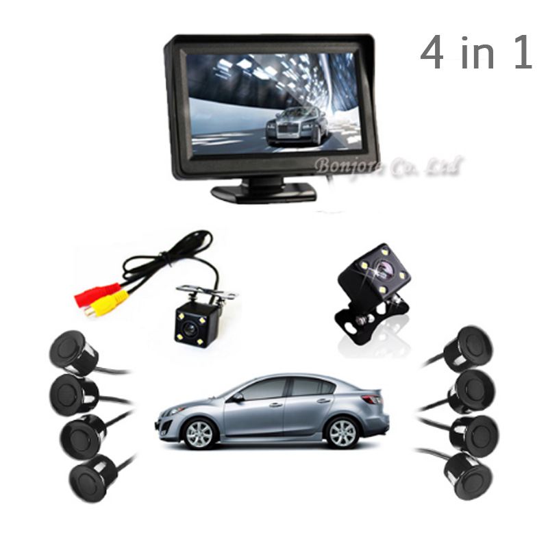 4 in 1 4.3' Car TFT Monitor Dual Core Reverse Radar 8 Alarm Sensors with Front View Camera + Rear view Camera Parking System dual channel video car 6 pcs 13mm flat parking sensors reverse backup radar system with front view camera and rear view camera