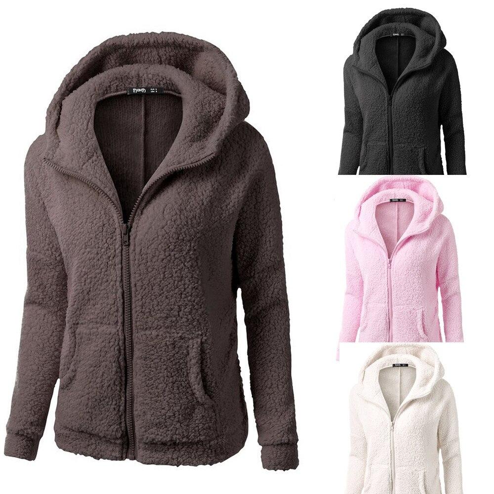 HTB1hnXCX0zvK1RkSnfoq6zMwVXa4 Women Solid Color Coat Thicken Soft Fleece Winter Autumn Warm Jacket Hooded Zipper Overcoat Female Fashion Casual Outwear Coat