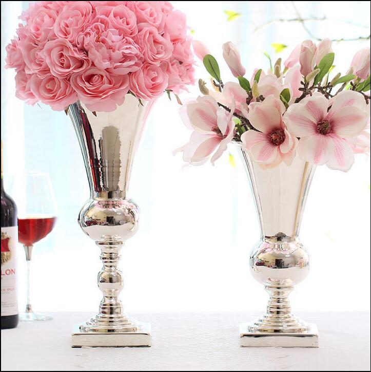 de gran dimetro de mesa de metal florero decorativo flores jarrones altos para la boda jarrones
