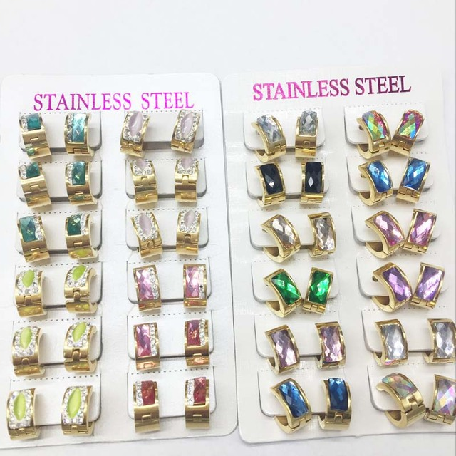 12pairs/lot high quality mixed color Luxury Gold Plated Stainless Steel Hoop Earring For Women Or Women Sale With Set wholesale