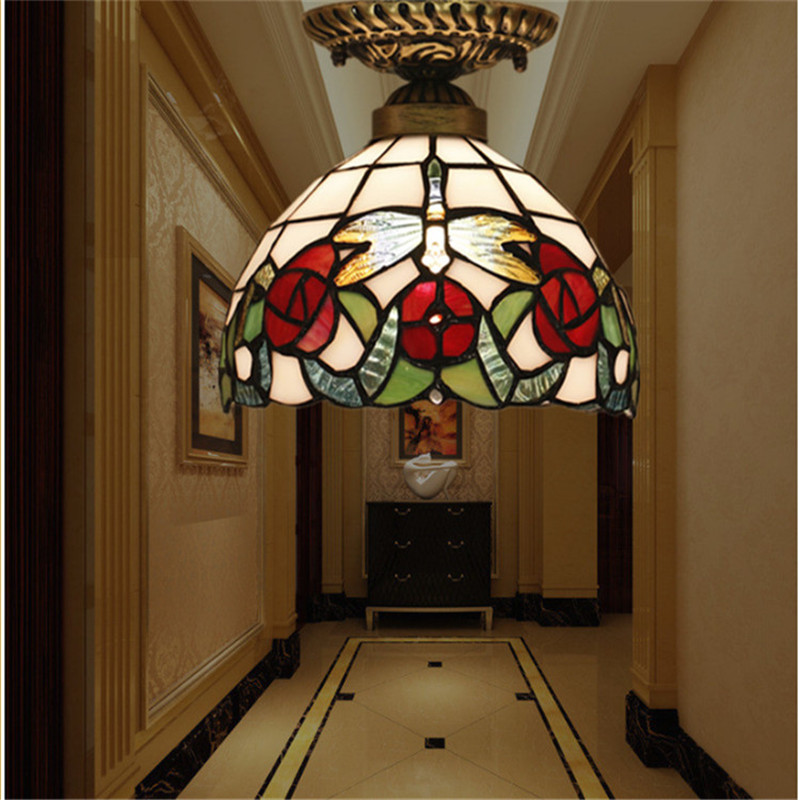 Tiffany ceiling lamp ,American,European Baroque,Med ,Bohemia surface mounted tiffany light ,20cm butterfly ceil lampTFC-023-20CM