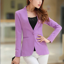 цена на Autumn Women Candy Color Blazers Jackets Long Sleeve Slim Suit Casual One Button Women Jacket Big Size Blazer