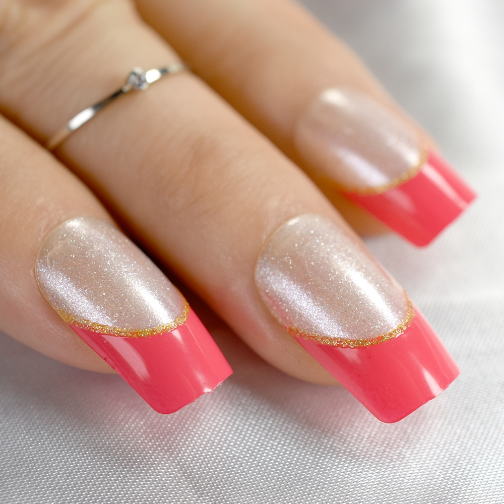 Lowered Square Red French Nail Silver Glitter Sparkly Medium Size ...