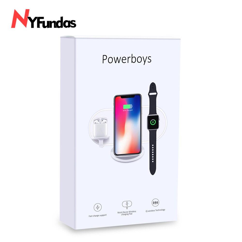 NYFundas cargador inalámbrico soporte para Apple Watch cargador de 3 en 1 para iphone XS MAX XR para iwatch 2 3 4 Los Airpods chargeur de inducción