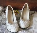 High heels plus size wedding shoe for brides the lace rhinestones bridal bridesmaid pumps party heels white shoe XNA 210
