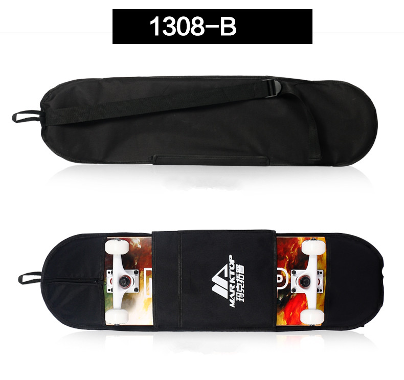 "Image 4 - New Black Skateboard Carrying Bag 4 Wheels Skateboard Bag 31""x8"" Skateboard Double Rocker Backpack-in Skate Board from Sports & Entertainment"
