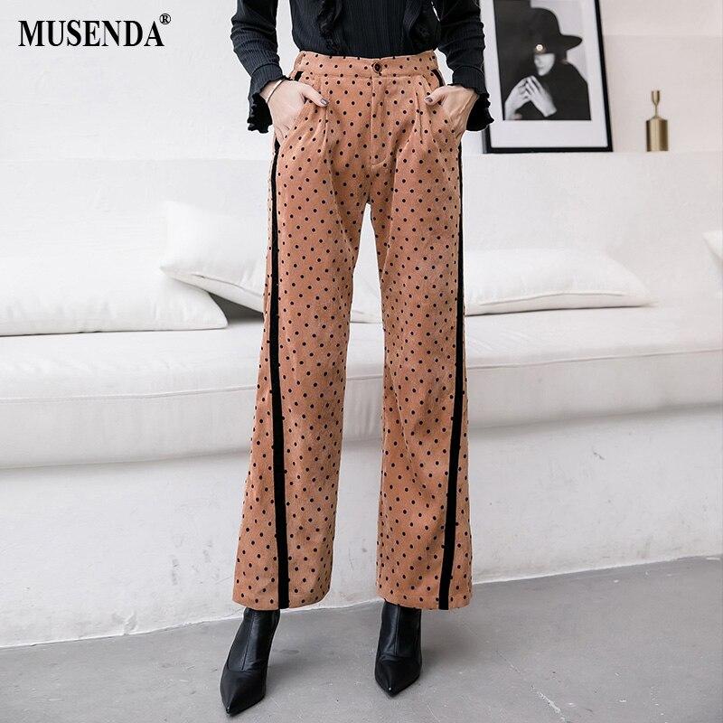 Tamaño Completa 2018 Otoño Pierna Mujeres Ancha Pantalones Más Dot Casual Caqui Invierno Musenda Pana Señora Negro Longitud De Gruesa 756f1q