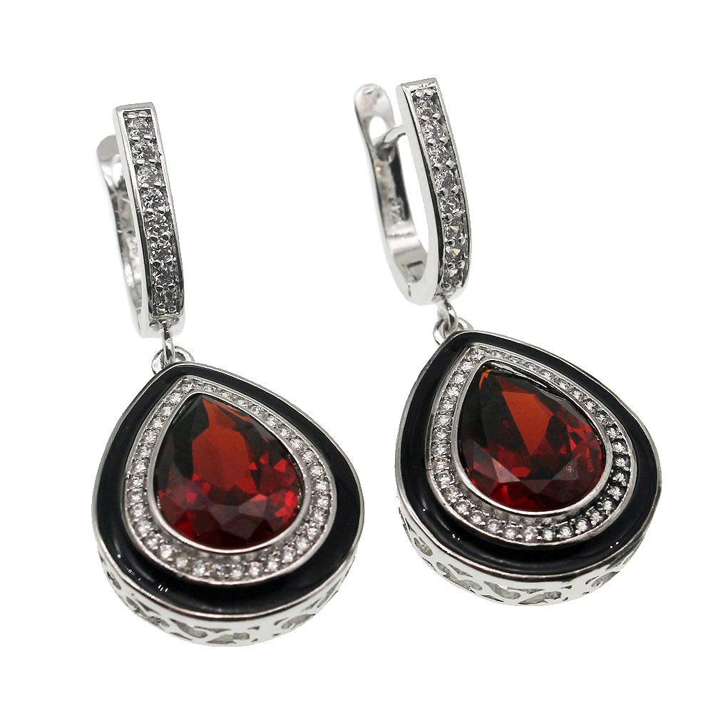Mozambique Red Garnet Hermosa 925 Silver Jewelry Earrings Sterling-Silver-Drop-Earring 36mm Pretty Women Gift hermosa jewelry hot multi color round design 925 sterling silver fashion earring st81