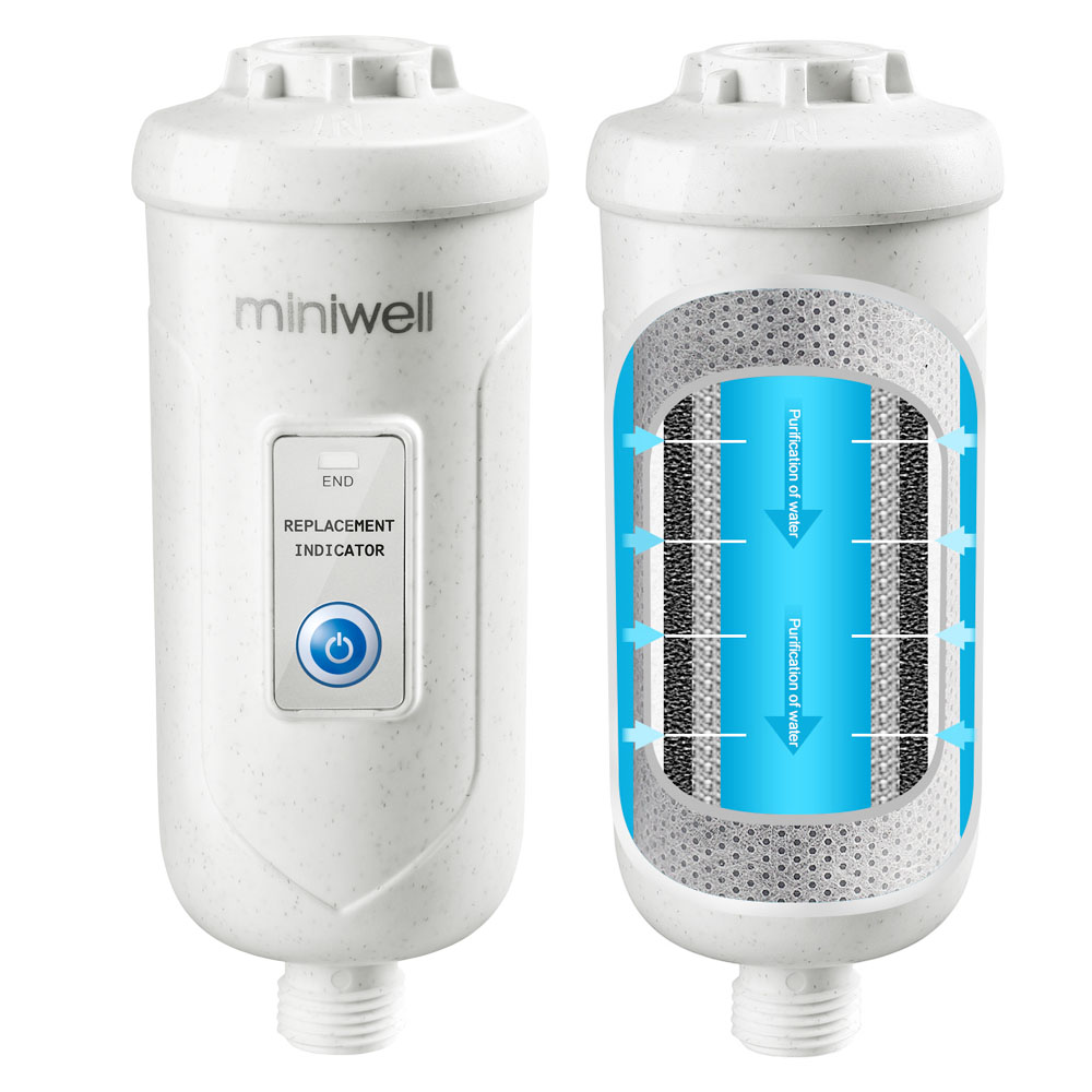 Miniwell L730 Filter Shower System with Adjustable Shower head in bathroom