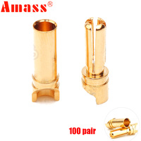 200pcs/lot High quality Amass GC 3514 3.5mm Golden Bullet Connector for ESC Motor Lipo RC battery Part (100 pair )