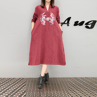 New Vintage Women Dress Loose Full Sleeve Cotton And Linen Split Embroidery Dresses Red Green Blue