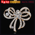 Golden Big Bridal Bowknot Rhinestone Brooch for Women Wedding Bridal ,Austrian Crystal Bow Flower Brooches Pin Scarf Pin Jewelry