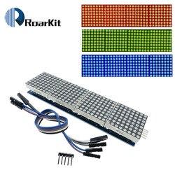 Микроконтроллер MAX7219 4 в 1, красный/синий/желтый зеленый светодиодный дисплей с 5P линейной матрицей, модуль 5 В для Arduino, Комплект «сделай сам» ...